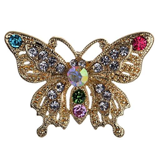 Belle coloršŠe d'or de cristal de marqueterie de broche de papillon et Pins Amybria fille