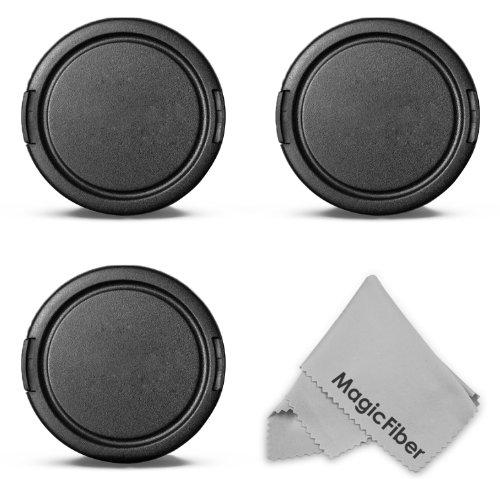 (3-Pack) 58Mm Snap-On Lens Cap Kit For Canon Rebel (T5I T4I T3I T3 T2I T2 T1I Xti Xt Sl1), Canon Eos (1100D 700D 650D 600D 550D 500D 450D 400D 100D) Dslr Camera Zoom Lens + Magicfiber Microfiber Lens Cleaning Cloth