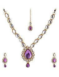 Lucky Jewellery Purple Gold Plated Kundan Jewellery Set For Women