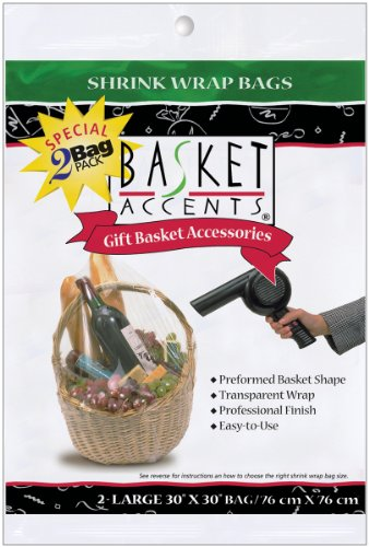 Photo Frog Basket Accents 30 by 30-Inch Shrink Wrap Bags, Large, Clear, 2-Pack (Package Shrink Wrap compare prices)