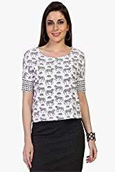 Funk For Hire Women Cotton Lycra knit Horse printed Crop Top (White, Size L)