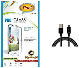 Tidel 2.5D Curved Tempered Glass Screen Guard Protector For Asus ZenFon 2 With USB Data Cable