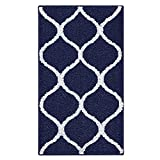 Kitchen Rugs, Maples Rugs [Made in USA][Rebecca] 1'8 x 2'10 Non Slip Padded Small Area Rugs for Living Room, Bedroom, and Entryway - Navy Blue/White