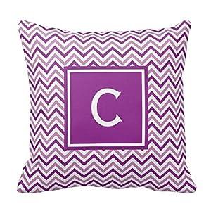 Amazon.com - Decors Double Purple Chevron Monogram Throw Pillow Case Cushion Cover Home Sofa ...