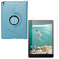 DMG PU Leather 360 Degrees Rotating Stand Case for HTC Nexus 9 (Light Blue) + Matte Anti-Glare Screen Protector