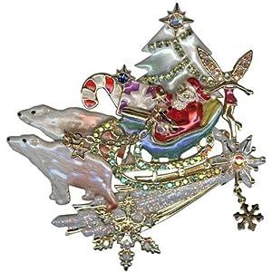 Kirks Folly Polar Bear Express Christmas Pin Pendant