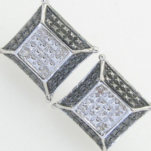 Mens 925 Sterling Silver earrings fancy stud hoops huggie ball fashion dangle black and white pave square earrings1