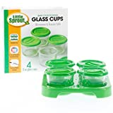 Glass Baby Food Storage Cups- (4 - 2oz Jars) Microwave, Freezer, And Dishwasher Safe Containers With Tray And...