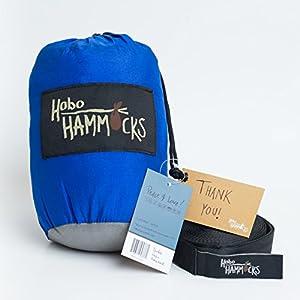 Hobo Hammocks - Full Double Hammock (Free Straps Included) - Parachute Nylon (Big Blue)