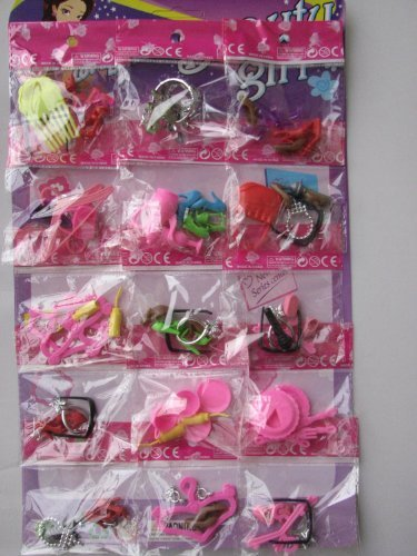 KUPOO Group of 15 Bags 70 Items Shoes Glasses Necklace Tableware Hanger Fit Barbie Dolls