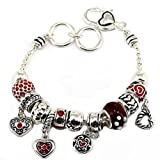 Red Heart Charm Bracelet Crystal BH Rondelle Murano Beads Silver Plate