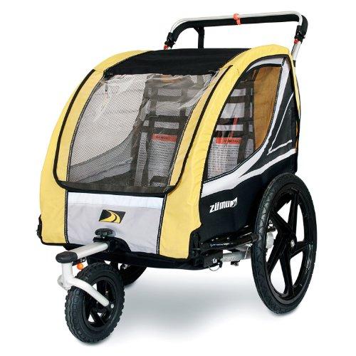 ZUMU 3-in-1 Bike Trailer Jogger & Stroller for 2 Kids (up to 100#) or Pet Dog