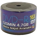 Aone DVD-R 16x Full-Face Inkjet Printable Discs - 4.7GB 120min - 50 Pack