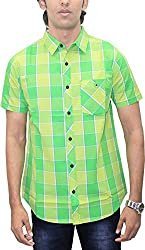 AA' Southbay Men's Fresh Green Checks 100% Premium Cotton Half Sleeve Business Casual Shirt