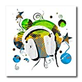 ht_30045_3 Rewards4life Gifts - Funky Headphones Blue - Iron on Heat Transfers - 10x10 Iron on Heat Transfer for White Material