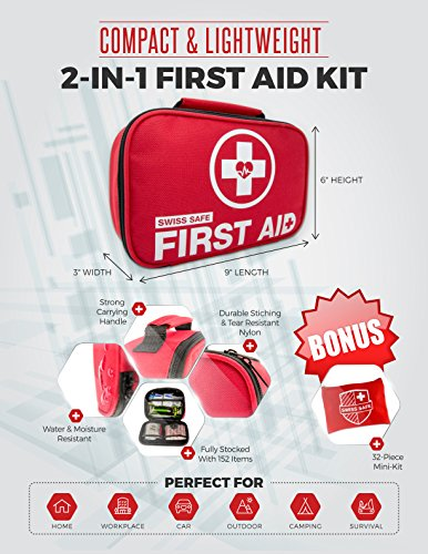 2-in-1-First-Aid-Kit-120-Piece-Bonus-32-Piece-Mini-First-Aid-Kit-Compact-Lightweight-for-Emergencies-at-Home-Outdoors-Car-Camping-Workplace-Hiking-Survival