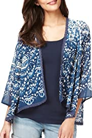 Indigo Collection Butterfly Print Cover-Up Top [T66-8163-S]
