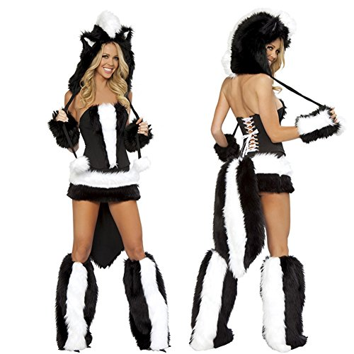 Follow518 Luxury Halloween Night Women Role-playing Costume Nightclub Party Sexy Wolf Costume 5 Piece Game Uniforms Clothing Black and White