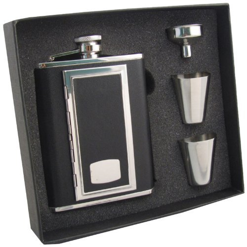 "Visol ""SP Black"" Leather Cigarette Case Flask Gift Set, 6-Ounce, Black"