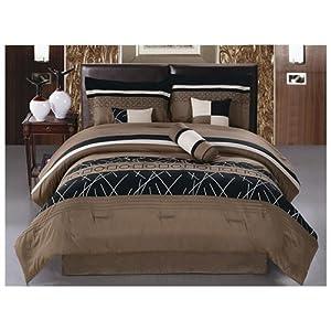 JBFF Luxury Embroidery Bed in Bag Microfiber Comforter Set, Queen, Coffee, 7 Piece