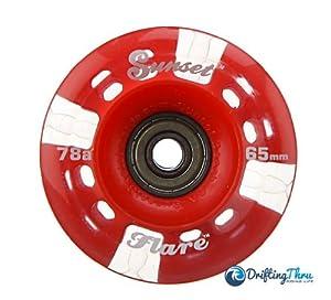 Buy Red Sunset Flare LED Longboard Skateboard Wheel Set (x4) 65mm x 45mm by Sunset Skateboards