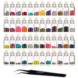 Mini Botes de Decoración de uñas en 3D SHANY Cosmetics con pinzas, 48 botes