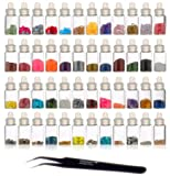 SHANY Cosmetics  3D Nail Art Decoration Mini Bottles with Nail Art Tweezer, 48 Count