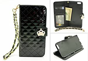 ZZYBIA IP6 4.7 PC Black Patent-like Stand Case Card Holder Wallet w/ Wristlet for Apple iPhone 6 4.7