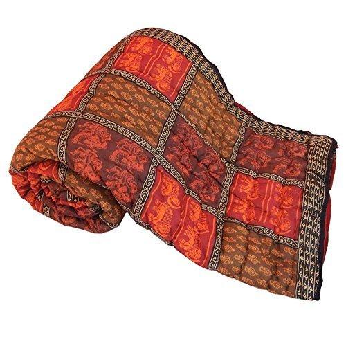 Little India Jaipuri algodón Razai Ethnic diseño de varios colores de funda de edredón para cama de matrimonio