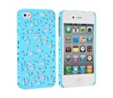 NiceEshop(TM) Light blue Interwove Line Bird's Nest style slim Snap on Hard cover case fit for iphone 4 4G 4S+Free Screen Protector +Free niceEshop Cable Tie