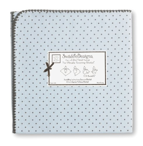Swaddledesigns Ultimate Receiving Blanket, Brown Polka Dots, Pastel Blue