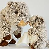 Histoire d'ours - Peluches et Doudous - Peluche Marmotte / Castor MM - Marron gris chiné et blanc - Collection : Studio - Doudou bébé 25 cm