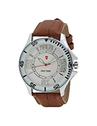 Swiss Trend Sports Design Wrist Watch With White Dial And Brown Strap