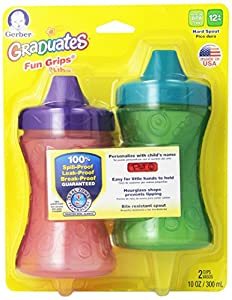 Gerber Graduates Fun Grips spill Proof Cup, 2 Count, 10 Ounce, Colors May Vary