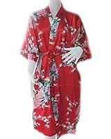 Peacock Kongqiao Kimono Robe Sleepwear Red One Size