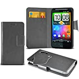 (Grey) HTC Desire HD Super Thin Faux Leather Suction Pad Wallet Case Cover Skin With Credit/Debit Card Slots By Spyrox