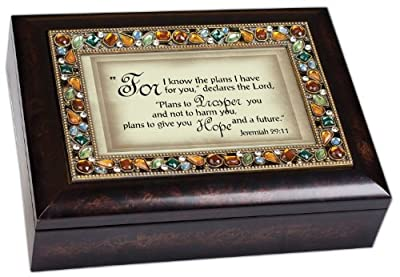 "Jeremiah 29:11 ""For I Know the Plans I Have for You"" Religious Italian Style Burlwood Finish Decorative Jewel Lid Musical Music Jewelry Box Plays How Great Thou Art"