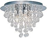 """Nino Leuchten 63040306 - Lampadario da soffitto""""London"""" a 3 punti luce, diametro: 38 cm, pendenti in vetro,sfere in acrilico colore: Cromato"""