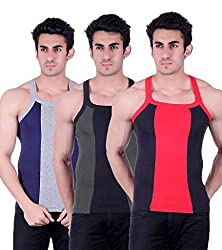 Zimfit Gym Vest - Pack of 3 (Black_Green_Blue_36)
