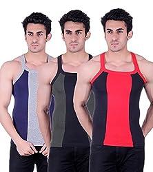 Zimfit Gym Vest - Pack of 3 (Black_Green_Blue_36)