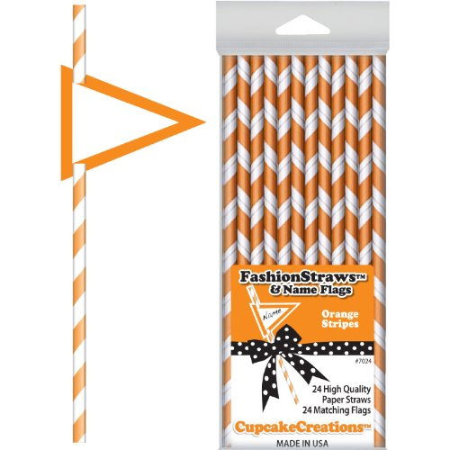 Orange Striped Paper Straws (24 per package)