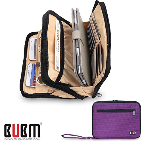 bubm-double-layer-padded-travel-electronic-case-packing-cubes-for-ipad-mini-makeup-bag-electric-purp