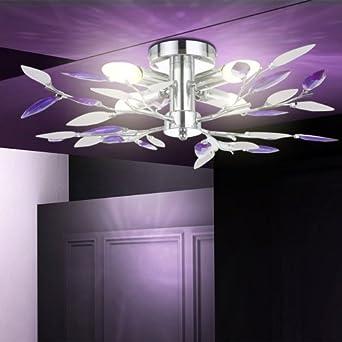 16 Watt LED Deckenleuchte Chrom Deckenlampe Wohnzimmer Beleuchtung  Designlampe Lila Blätter   Kjxvkjcxjg