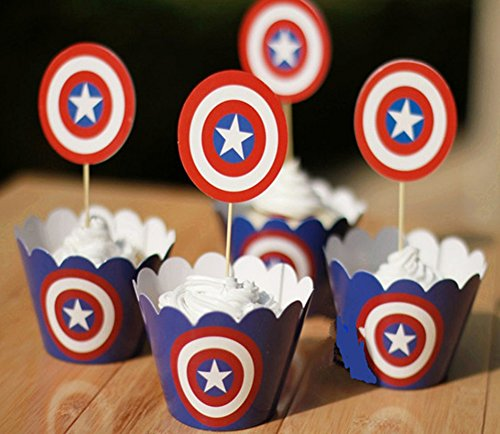 Set Of 12 Captain America Kids Birthday Party Paper Cupcake Liner Wrap Wrappers With Toppers