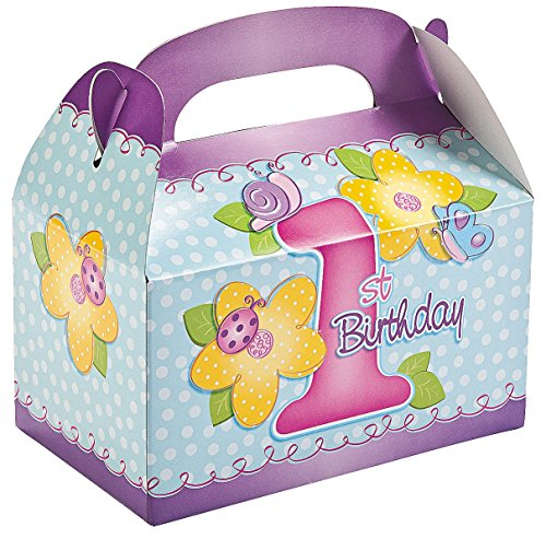Girl's 1st Birthday Treat Boxes (8 Pack) - 1