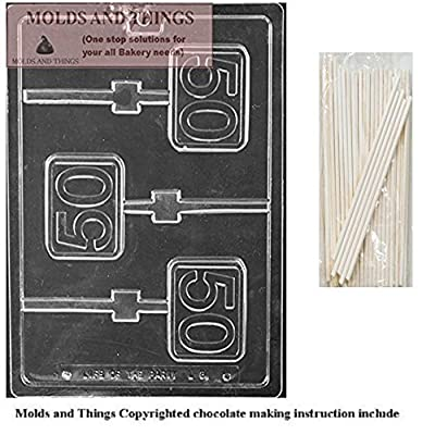 Number 50th Square Lolly Chocolate Candy Mold With © Candy Making Instruction - with 25 sticks