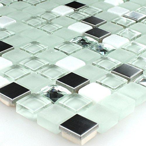 glasmosaik edelstahl mosaik fliesen t rkis diamant. Black Bedroom Furniture Sets. Home Design Ideas