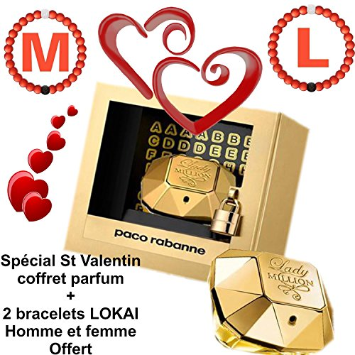 Speciale San Valentino, Cofanetto profumo Lady Million, spray da 80 ml + 2 braccialetti Lokai 2 rossi