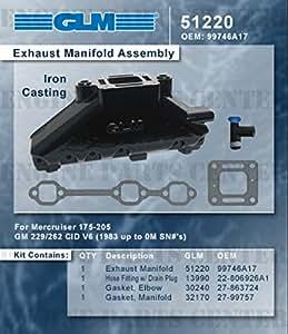 MERCRUISER EXHAUST MANIFOLD GM 4.3L V6 (CAST IRON)   GLM Part Number: 51220; Mercury Part Number: 99746A17
