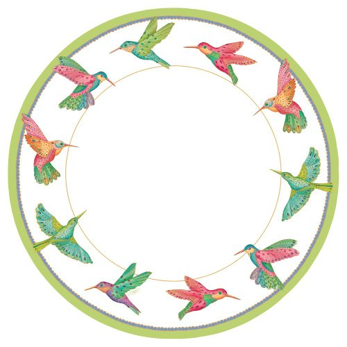 Caspari Dinner Plates, Hummingbirds
